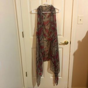 Sleeveless shawl, o/s, long, red, back and brown
